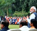 PM meets Republic Day participants at his residence