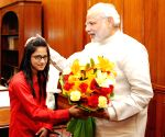 PM Modi meets winner of Bhagavad Gita Champion League