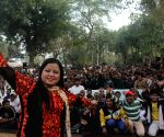Bharti Singh performs during a comedy programme at Tihar Jail