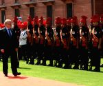 Swedish Defence Minister  inspects Guard of Honour at South Block