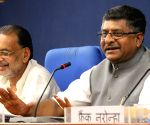 Ravi Shankar Prasad, Radha Mohan Singh during a press conference