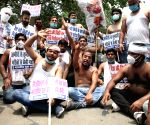 Youth Congress 'shirtless' protest against Railways privatisation
