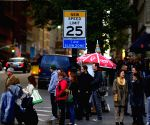New York (United States): Traffic sign of new speed limit on the 7th Avenue in Manhattan