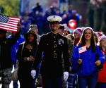 New York (United States): People take part in a Veterans Day Parade