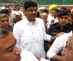 Dushyant Chautala receives warm welcome from party workers on arrival in Delhi