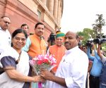 Virendra Kumar arrives at Parliament house