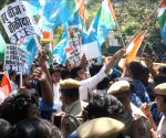 NSUI demonstration near Prakash Javadekar's residence