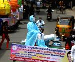 One of the Social service society  created awareness of wearing a mask by a Mannequin dressed with PPE kit and Mask in Chennai