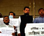 Opposition Party Protested on the steps of Vidhan Bhavan on the day of the Budget session before the arrival of Chief Minister Uddhav Thackeray, Environment Minister Aditya Thackeray, Assembly speaker,  Ramraje Nimbalkar and Shivsena Leader, Gulabrao Patil and BJP leader Girish Mahajan in Mumbai on Thursday 04th March, 2021