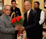 """President receives first copy of the book """"The Nationalist President Pranab Mukherjee"""