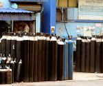 Kolkata : Oxygen cylinders are stored at Kolkata Medical College Hospital during the increasing numbers of COVID 19 patients in Kolkata on April 23, 2021