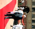 Palestine President Mahmoud Abbas inspects the Guard of Honour