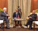 Palestine President Mahmoud Abbas meets President Mukherjee
