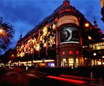 Paris (France): Christmas lights decorate the facades of a shopping mall