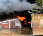A major fire breaks out in a railway godown