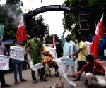 All India Students Federation (AISF) activists burn effigy State Health Minister Mangal Pandey to demand probe into Siwan ambulance scam in Patna