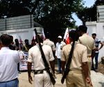 All India Students Federation (AISF) activists stage demonstration at Education Minister bungalow protest against STET merit list scam in Patna.