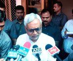 Nitish Kumar after a review meeting