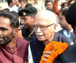 L K Advani arrives at Patna Airport