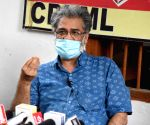 CPI-ML general secratry Dipankar Bhattacharya addressing a press conference in Patna