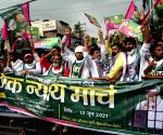 Jan Adhikar Party activists during the take out 'Lok Nyay March' demanding release of their party chief Pappu Yadav in Patna