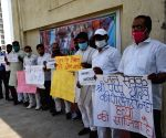 Jan adhikar party workers protest against the arrest of JAP supremo Pappu Yadav Patna.