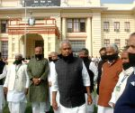 Nitish supporters gather in front of Bihar Assembly