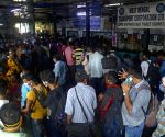 People are waiting to catch the bus at bus stand due to lockdown started from tomorrow in Kolkata