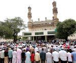 Namaz at Jamia Masjid Qutub Shahi