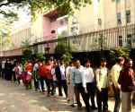 People queue outside bank to exchange demonetised notes