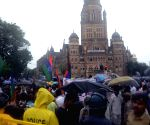 Demonstration against the controversial demolition of Ambedkar Bhavan