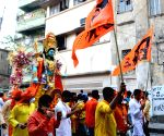 Kolkata :People took part in a rally on the occasion of Ram Navami festival in Kolkata on April 21, 2021