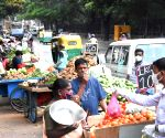Peoples buying vegetables at NR Road during the lockdown in the wake of the 2nd wave of COVID-19, in Bengaluru on Thursday 6th May 2021.