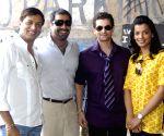 Percept Picture Company and Bhandarkar Entertainment's new venture Jail. Madhur Bhandarkar, Joint MD PPC, Shailendra Singh the leads of the film Neil Nitin Mukesh and Mugdha Godse during the Mahurat of their latest film, Jail.