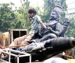 Plaster of Paris goddess devi idols transporting, in Bengaluru