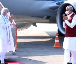 Free Photo: PM arrived at Ahmedabad airport
