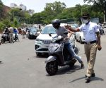 Police Checkpoint at KR Circle during lockdown in the wake of the 2nd wave of COVID-19, in Bengaluru