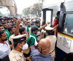 Members of various farmer organisations protest against Agri Bills 2020, detained