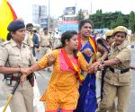 Demonstration against hike in toll at Kempegowda International Airport