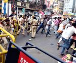 Akhil Rashtiya Jantantra Party workers clash with police during protest