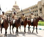 Policemen during rehearsals ahead of Joint Session of Karnataka Legislature