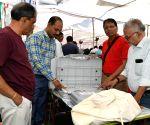 Indore (Madhya Pradesh): 2019 Lok Sabha elections - Polling officials at a distribution centre