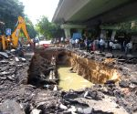 Pothole forms as road collapses under IIT flyover due to heavy rain in Delhi