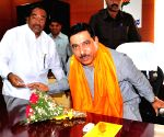 Prahlad Joshi, newly elected BJP State President arriving