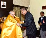 President Mukherjee felicitated by Telangana Governor Narasimhan