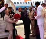 President Mukherjee arrives at Begumpet Airport