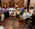 President Pranab Mukherjee interacts with media persons