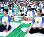 Pranab Mukherjee at International Yoga Day celebrations