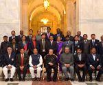 Pranab Mukherjee presenting the Indira Gandhi National Service Scheme Awards