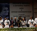"President Mukherjee receives the first copy of the book ""India's Indira : A Centennial Tribute"""